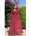 Double Breasted Maxi Chiffon Dress With Side Slit
