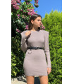 Shoulder Detail Knitwear Mini Dress Mink