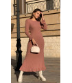 Maxi Knitwear Dress With Flywheel Skirt Dried Rose
