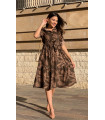 Leaf Pattern Wooden Button Belted Dress Khaki
