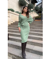 Pencil Skirt Double Breasted Belted Sweater Dress Almond