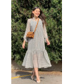 Silvery Chiffon Dress With Chest Button