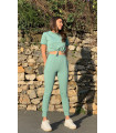 Short Sleeve Crop Tracksuit Suit Mint Green