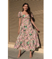 Chest Knot Detail Short Sleeve Pink Floral Maxi Dress