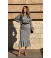 Skirt Ankle Frilly Maxi Knitwear Dress Gray